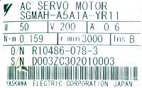 Yaskawa SGMAH-A5A1A-YR11 image