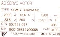 Yaskawa SGMG-30AWAAB image