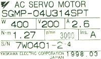 Yaskawa SGMP-04U314SPT image