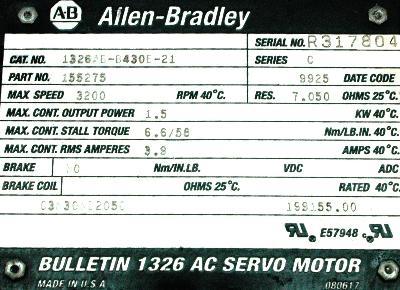 New Refurbished Exchange Repair  Allen-Bradley Motors-AC Servo 1326AB-B430E-21 Precision Zone