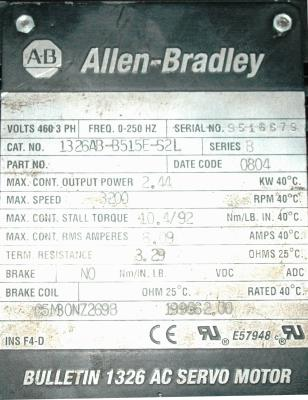 New Refurbished Exchange Repair  Allen-Bradley Motors-AC Servo 1326AB-B515E-S2L Precision Zone