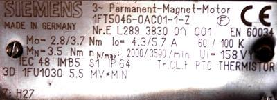 New Refurbished Exchange Repair  Siemens Motors-AC Servo 1FT5046-0AC01-1-Z Precision Zone