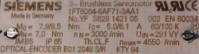 New Refurbished Exchange Repair  Siemens Motors-AC Servo 1FT6064-6AF71-3AA1 Precision Zone