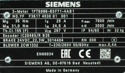New Refurbished Exchange Repair  Siemens Motors-AC Servo 1FT6086-8SF71-4AB1 Precision Zone