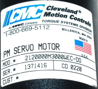 New Refurbished Exchange Repair  CMC CLEVELAND MOTION Motors-DC Servo 2120000M3000WEC-DO Precision Zone