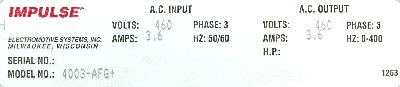 New Refurbished Exchange Repair  Magnetek Inverter-Crane 4003-AFG+ Precision Zone