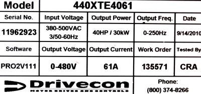 New Refurbished Exchange Repair  Drivecon Inverter-Crane 440XTE4061 Precision Zone