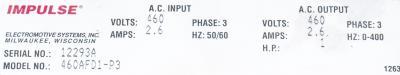 New Refurbished Exchange Repair  Magnetek Inverter-Crane 460AFD1-P3 Precision Zone