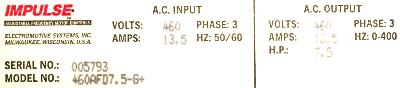 New Refurbished Exchange Repair  Magnetek Inverter-Crane 460AFD7.5-G+ Precision Zone