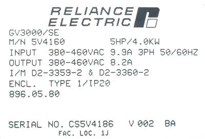 New Refurbished Exchange Repair  RELIANCE ELECTRIC Inverter-General Purpose 5V4160 Precision Zone