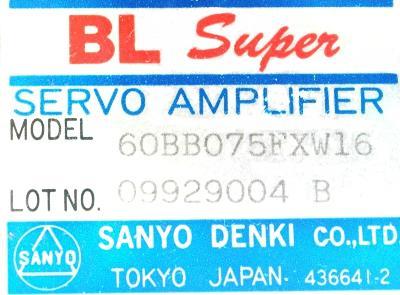 New Refurbished Exchange Repair  Sanyo Denki Drives-AC Servo 60BB075FXW16 Precision Zone