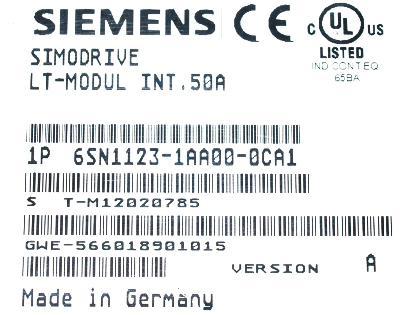 New Refurbished Exchange Repair  Siemens Part of product 6SN1123-1AA00-0CA1 Precision Zone
