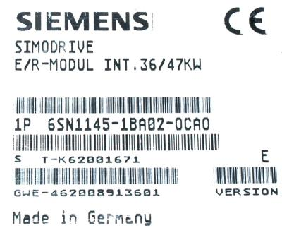 New Refurbished Exchange Repair  Siemens Drives-AC Servo 6SN1145-1BA02-0CA0 Precision Zone