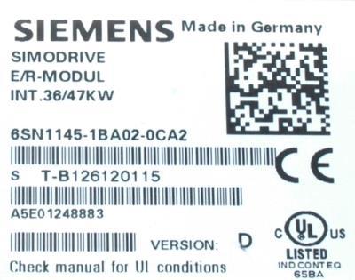 New Refurbished Exchange Repair  Siemens Part of product 6SN1145-1BA02-0CA2 Precision Zone
