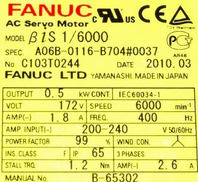 New Refurbished Exchange Repair  Fanuc Motors-AC Servo A06B-0116-B704-0037 Precision Zone