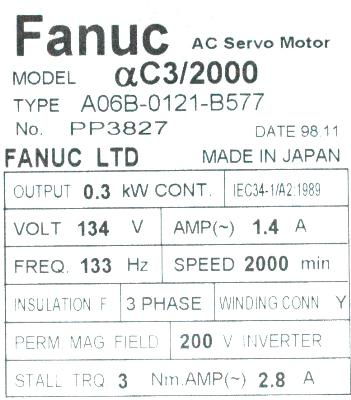 New Refurbished Exchange Repair  Fanuc Motors-AC Servo A06B-0121-B577 Precision Zone