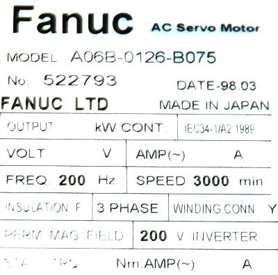 New Refurbished Exchange Repair  Fanuc Motors-AC Servo A06B-0126-B075 Precision Zone