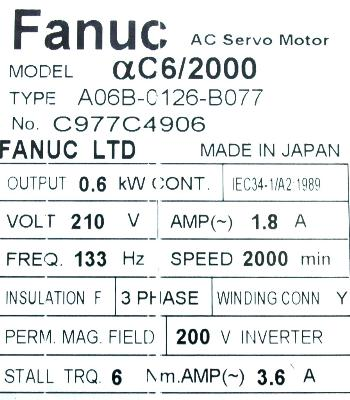 New Refurbished Exchange Repair  Fanuc Motors-AC Servo A06B-0126-B077 Precision Zone