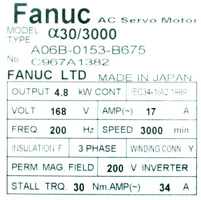 New Refurbished Exchange Repair  Fanuc Motors-AC Servo A06B-0153-B675 Precision Zone