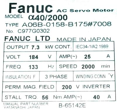 New Refurbished Exchange Repair  Fanuc Motors-AC Servo A06B-0158-B175-7008 Precision Zone