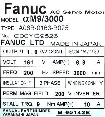 New Refurbished Exchange Repair  Fanuc Motors-AC Servo A06B-0163-B075 Precision Zone