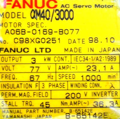 New Refurbished Exchange Repair  Fanuc Motors-AC Servo A06B-0169-B077 Precision Zone