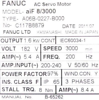 New Refurbished Exchange Repair  Fanuc Motors-AC Servo A06B-0227-B000 Precision Zone