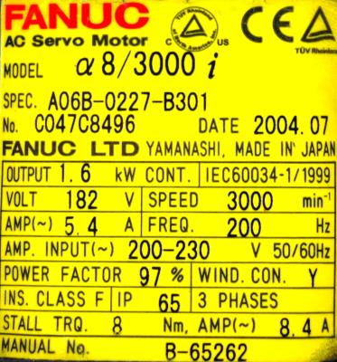 New Refurbished Exchange Repair  Fanuc Motors-AC Servo A06B-0227-B301 Precision Zone