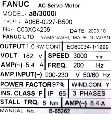 New Refurbished Exchange Repair  Fanuc Motors-AC Servo A06B-0227-B500 Precision Zone
