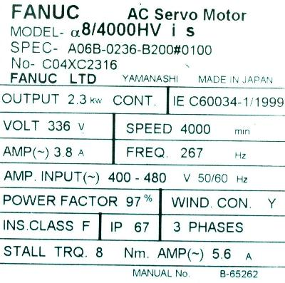 New Refurbished Exchange Repair  Fanuc Motors-AC Servo A06B-0236-B200-0100 Precision Zone