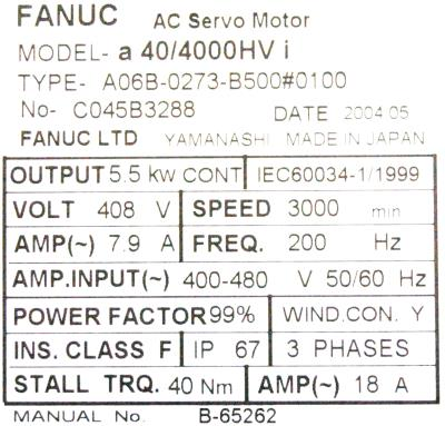 New Refurbished Exchange Repair  Fanuc Motors-AC Servo A06B-0273-B500-0100 Precision Zone