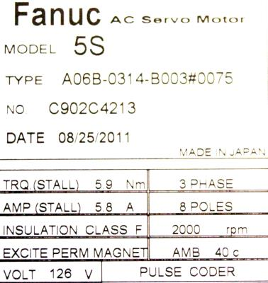 New Refurbished Exchange Repair  Fanuc Motors-AC Servo A06B-0314-B003-0075 Precision Zone