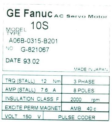 New Refurbished Exchange Repair  Fanuc Motors-AC Servo A06B-0315-B201 Precision Zone