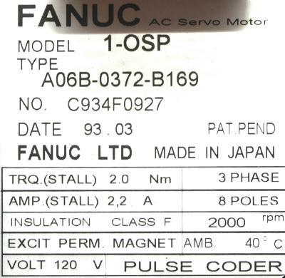 New Refurbished Exchange Repair  Fanuc Motors-AC Servo A06B-0372-B169 Precision Zone