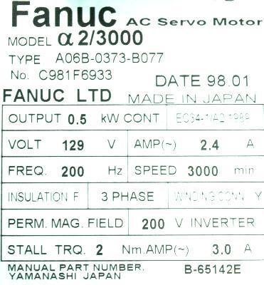 New Refurbished Exchange Repair  Fanuc Motors-AC Servo A06B-0373-B077 Precision Zone