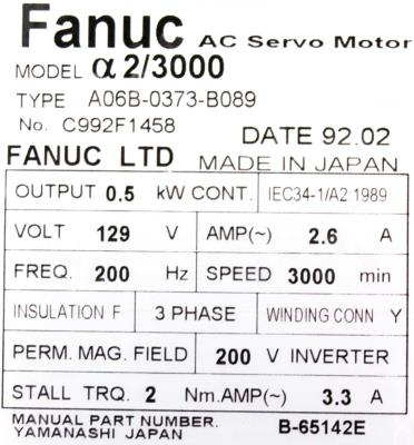 New Refurbished Exchange Repair  Fanuc Motors-AC Servo A06B-0373-B089 Precision Zone