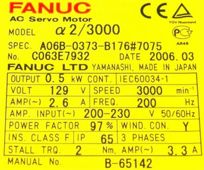 New Refurbished Exchange Repair  Fanuc Motors-AC Servo A06B-0373-B176-7075 Precision Zone
