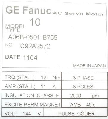 New Refurbished Exchange Repair  Fanuc Motors-AC Servo A06B-0501-B755 Precision Zone