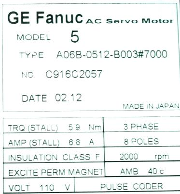 New Refurbished Exchange Repair  Fanuc Motors-AC Servo A06B-0512-B003-7000 Precision Zone