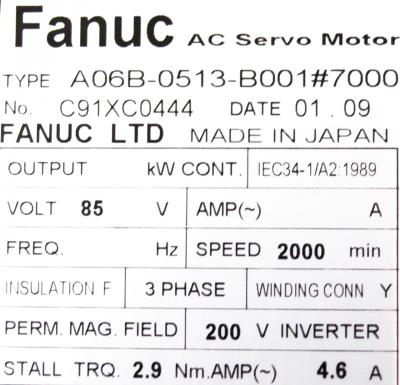 New Refurbished Exchange Repair  Fanuc Motors-AC Servo A06B-0513-B001-7000 Precision Zone