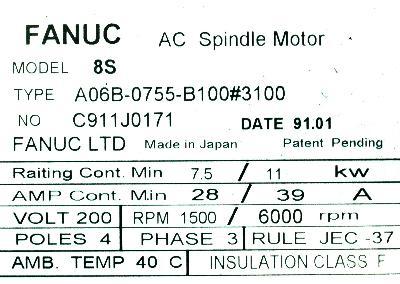 New Refurbished Exchange Repair  Fanuc Motors-AC Spindle A06B-0755-B100-3100 Precision Zone