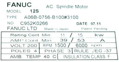 New Refurbished Exchange Repair  Fanuc Motors-AC Spindle A06B-0756-B100-3100 Precision Zone
