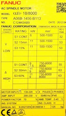 New Refurbished Exchange Repair  Fanuc Motors-AC Spindle A06B-1456-B113 Precision Zone