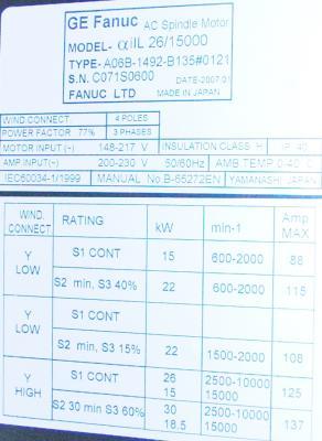 New Refurbished Exchange Repair  Fanuc Motors-AC Spindle A06B-1492-B135-0121 Precision Zone