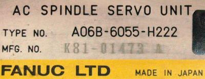 New Refurbished Exchange Repair  Fanuc Drives-AC Spindle A06B-6055-H222 Precision Zone