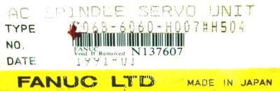 New Refurbished Exchange Repair  Fanuc Drives-AC Spindle A06B-6060-H007-H504 Precision Zone