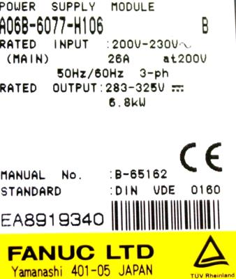 New Refurbished Exchange Repair  Fanuc Part of machine A06B-6077-H106 Precision Zone