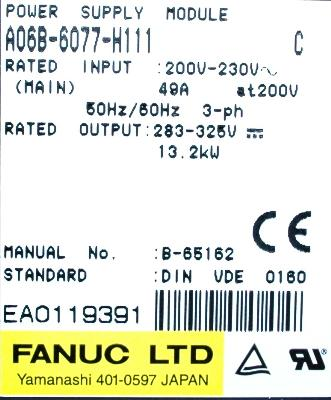 New Refurbished Exchange Repair  Fanuc Part of machine A06B-6077-H111 Precision Zone