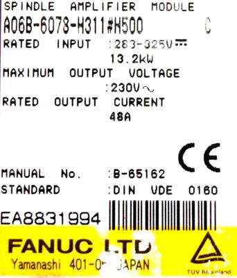 New Refurbished Exchange Repair  Fanuc Drives-AC Spindle A06B-6078-H311-H500 Precision Zone