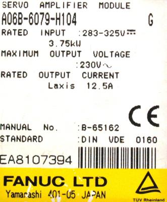 New Refurbished Exchange Repair  Fanuc Drives-AC Servo A06B-6079-H104 Precision Zone